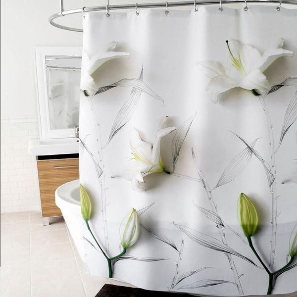 "Lillies Fabric Shower Curtain (70""x72"") White"