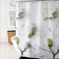 "Lillies Fabric Shower Curtain (70""x72"") White"