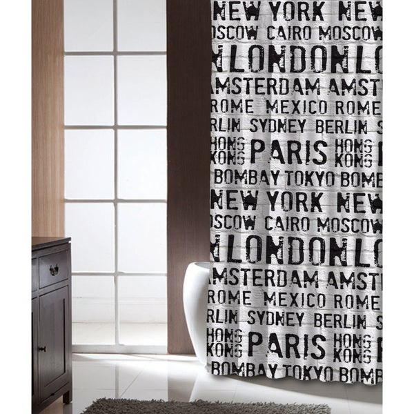 Famous Home Globetrotter PEVA Shower Curtain