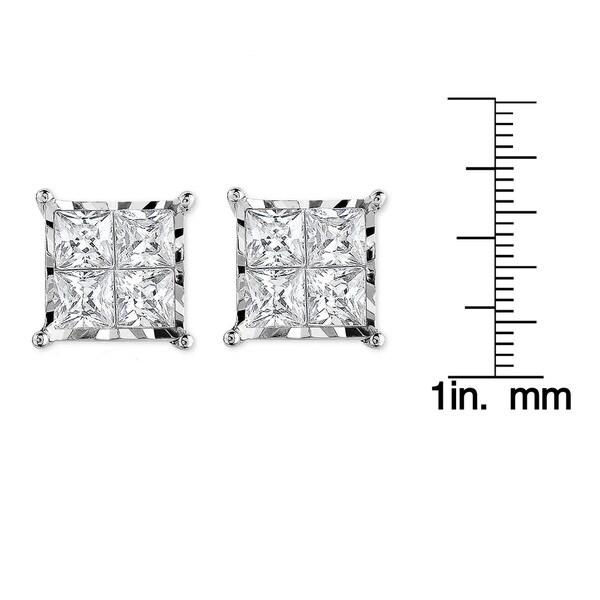 10k White Gold with 3/4ct. TDW Princess Cut Diamond Stud Earrings(I-J,I2-I3)