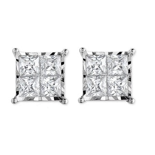 10k White Gold Square Earrings with 3/4ct. TDW Princess Cut Diamond (I-J,I2-I3)