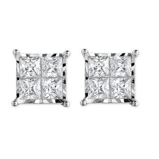 10k White Gold with 3/4ct. TDW Princess Cut Diamond Stud Earrings(I-J,I2-I3)|https://ak1.ostkcdn.com/images/products/16404031/P22753027.jpg?impolicy=medium