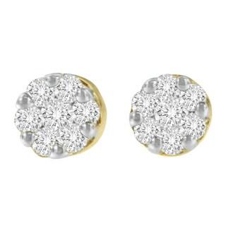 14kt Yellow Gold 1/2 ct. TDW Round-cut Yellow Diamond Earrings (I-J,I2-I3)