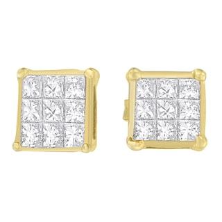14kt Yellow Gold 1/2ct TDW Princess-cut Diamond Earrings (H-I,VS1-VS2)
