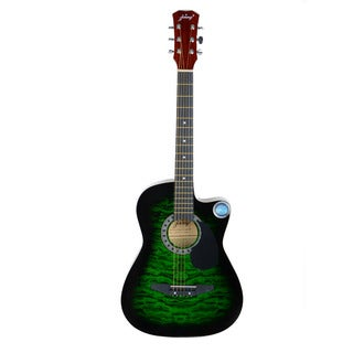 "CSP-3800C 38"" Cutaway Folk Guitar, Guitar Picks, Strings, Bag, Strap Green and Black and Red"