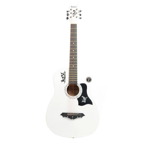Basswood Guitar, Bag, Straps, Picks, LCD Tuner, Pickguard, String Set White