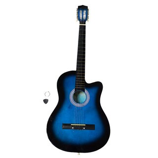 38 Inch Cutaway Acoustic Guitars with Guitar Plectrum Blue