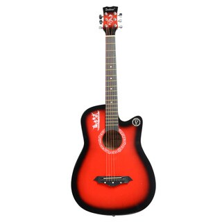 DK-38C Basswood Guitar, Bag, Straps, Picks, LCD Tuner, Pickguard, String Set Red
