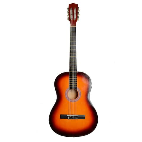 "38"" Professional Acoustic Classic Guitar, Pick, Strings Sunset Color"