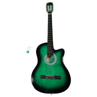 38 Inch Cutaway Acoustic Guitars with Guitar Plectrum Green