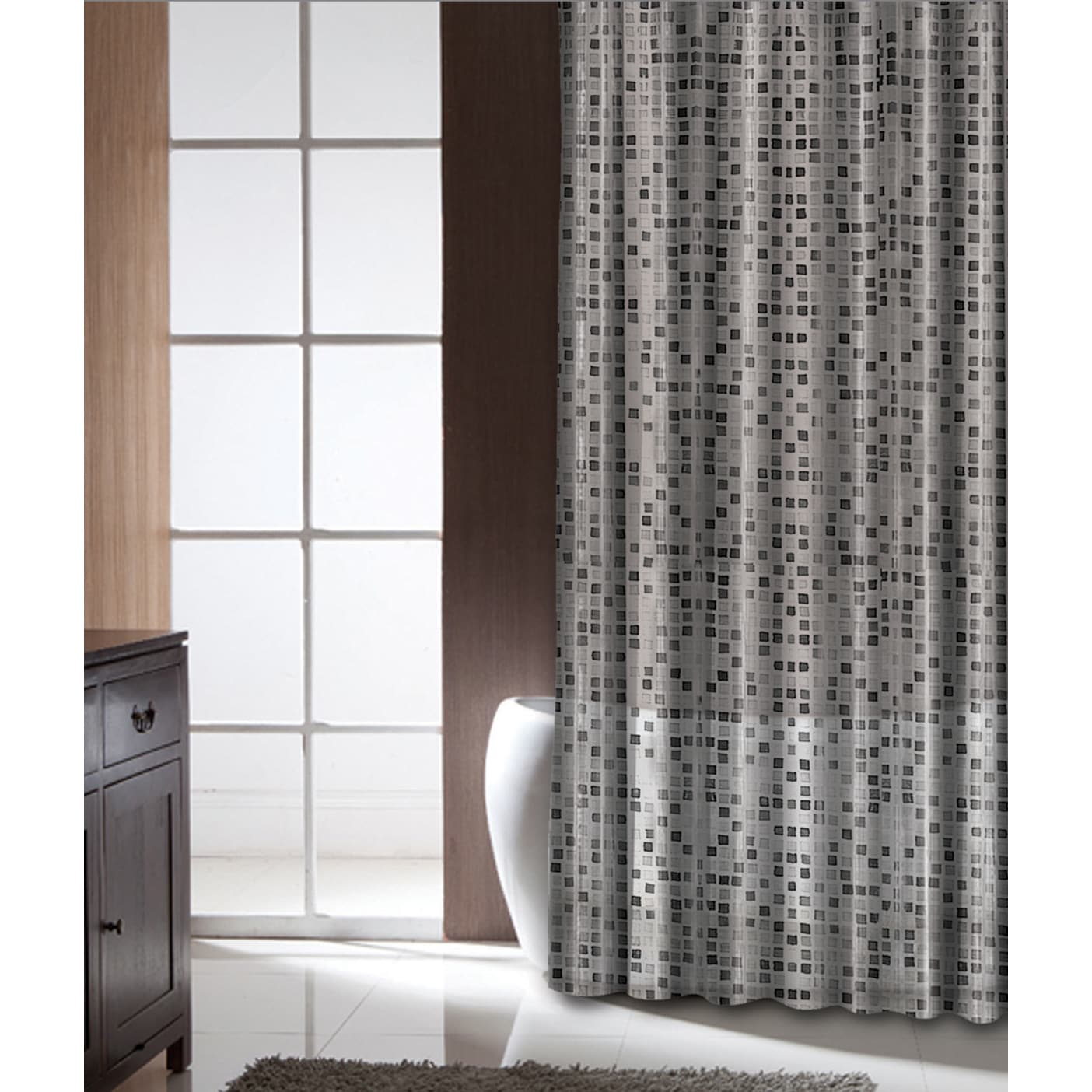 Famous Home Tiles Black Shower Curtain (Color: Black, Whi...