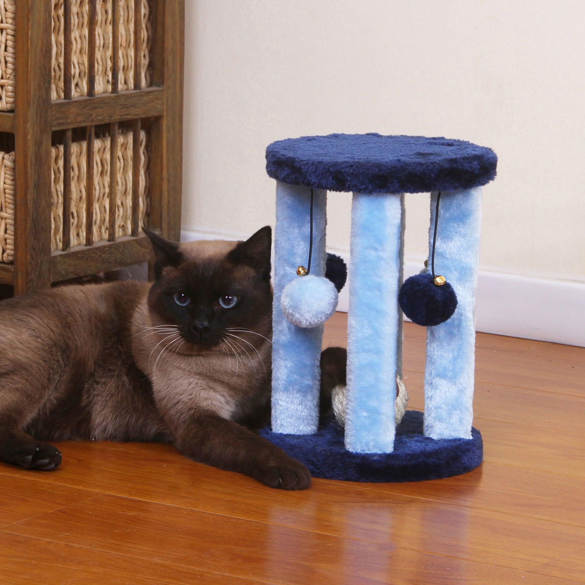PetPals Doo Wopp Fleece and Sisal Cat Toy (PP0031), Blue