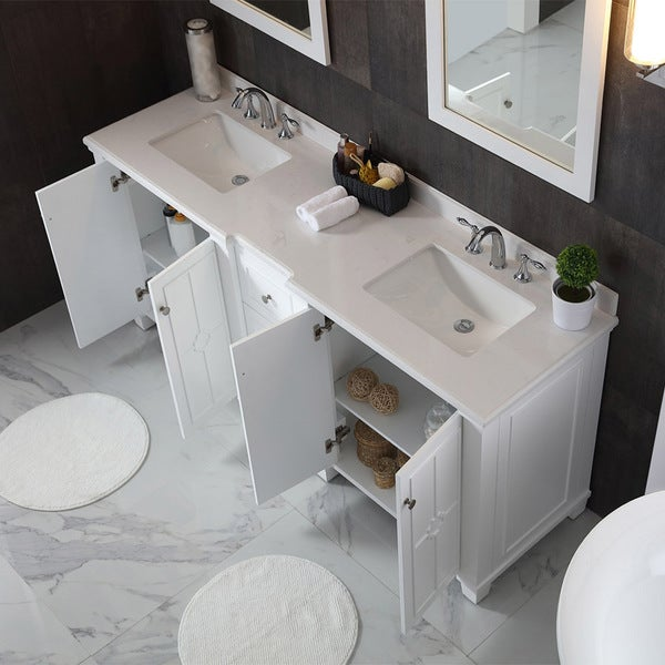 OVE Decors Positano White 75 Inch Bathroom Vanity   Free Shipping Today    Overstock.com   22753563