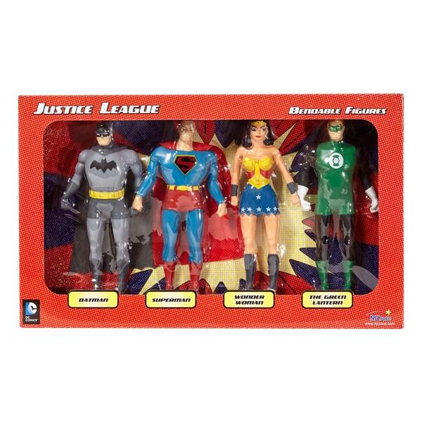 DC Comics - Justice League 4-Piece Bendable Figures Set: Batman, Superman, Wonder Woman, The Green Lantern