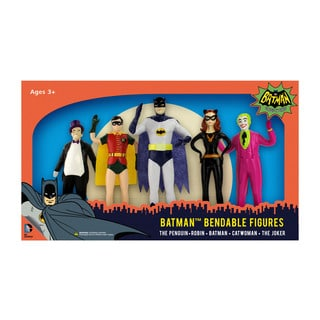 DC Comics - Batman 1966 Bendable Figure Set: The Penguin, Robin, Batman, Catwoman, The Joker