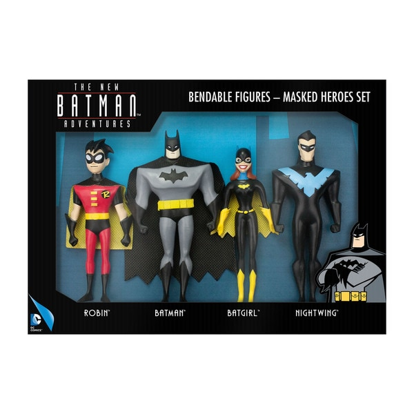 DC Comics - The New Batman Adventures Masked Heroes Bendable Figures Set: Robin, Batman, Batgirl, Nightwing