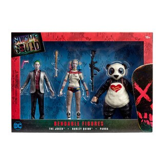 DC Comics - Suicide Squad Bendable Figures Set - The Joker, Harley Quinn, Panda