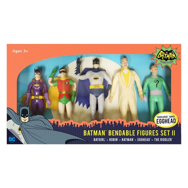 DC Comics - Batman Classic TV Series Bendable Figures Set II: Batgirl, Robin, Batman, Egghead, The Riddler