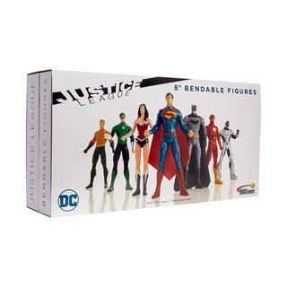 "DC Comics - Justice Leauge 8"" Bendable Figures Set: Batman, Superman, Wonder Woman, The Flash, Green Lantern, Aquaman, Cyborg"