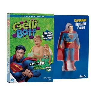"DC Comics Superman Gelli Baff Bath Slime w/ 5.5""Bendable Superman Figure - Kryptonite Green"