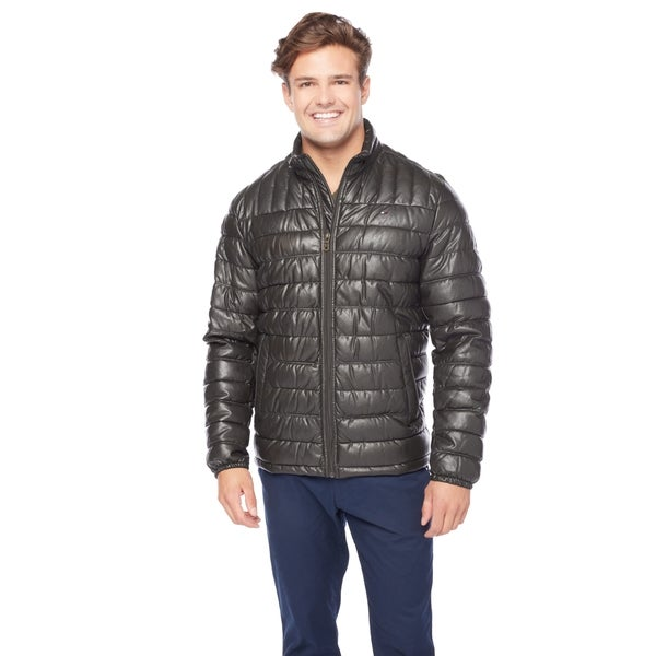 59db626586b2 Shop Tommy Hilfiger Men s Quilted Puffer Faux Leather Jacket - Free ...