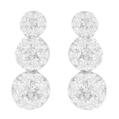 14K White Gold 2ct. TDW Round-cut Diamond Earrings (H-I,I1-I2)