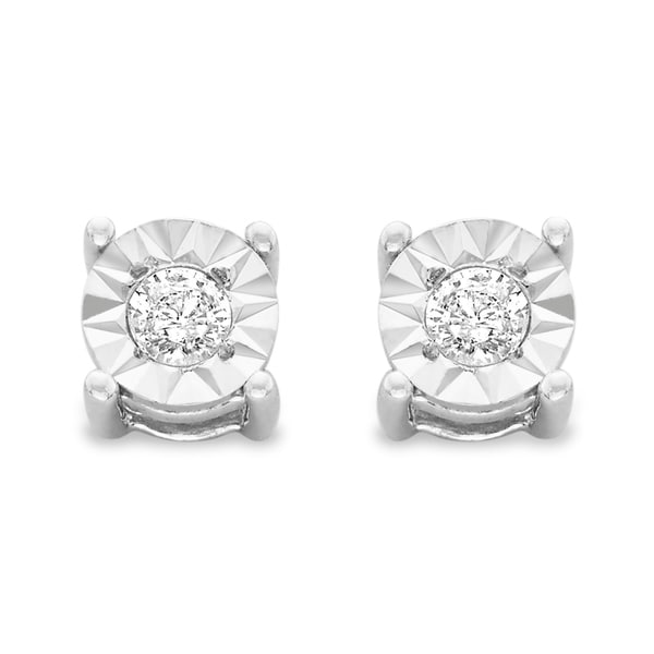 e36d0a18b Sterling Silver .10ct. TDW Round-Cut Diamond Miracle-Plated Stud Earrings (