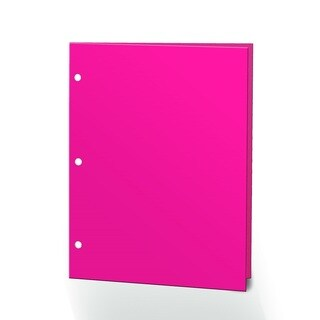 "Promarx Portfolios, 2 Pocket, 12"" x 9.375"", Solid Color, Glossy Portfolios, 3 Hole Punched, 72PK, Neon Pink"