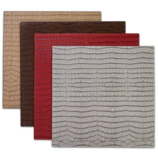 "Crocodile Faux Leather Placemats (13""x13"") Sets of 2"