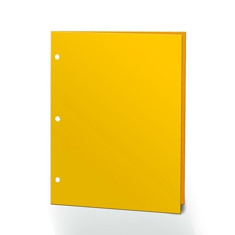 "Promarx Portfolios, 2 Pocket, 12"" x 9.375"", Solid Color, Glossy Portfolios, 3 Hole Punched, 72PK, Yellow"