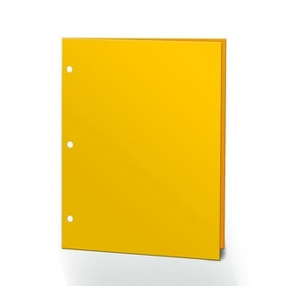 "Promarx Portfolios, 2 Pocket, 12"" x 9.375"", Solid Color, Glossy Portfolios, 3 Hole Punched, 72PK, Yellow"