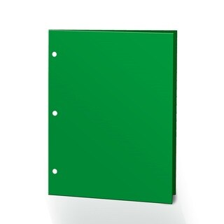"Promarx Portfolios, 2 Pocket, 12"" x 9.375"", Solid Color, Glossy Portfolios, 3 Hole Punched, 72PK, Green"