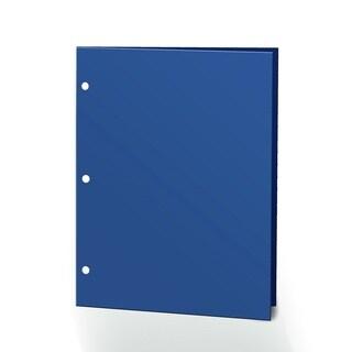 "Promarx Portfolios, 2 Pocket, 12"" x 9.375"", Solid Color, Glossy Portfolios, 3 Hole Punches, 72PK, Navy"