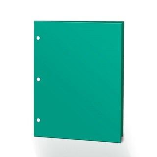"Promarx Portfolios, 2 Pcoket, 12"" x 9.375"", Solid Color, Glossy Portfolios, 3 Hole Punched, 72PK, Turquoise"