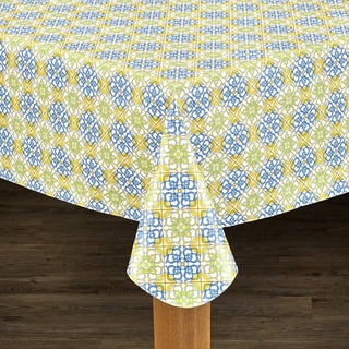Mosaic Print Indoor/Outdoor Heavyweight Vinyl Tablecloth With Soft Flannel Backing