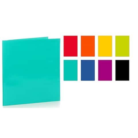 "Promarx Portfolios, 12"" x 9.5"", 2 Pocket, 3 Prong, Glossy Portfolios, Assorted Colors, Colors May Vary, 48PK - 12'' x 9.5''"