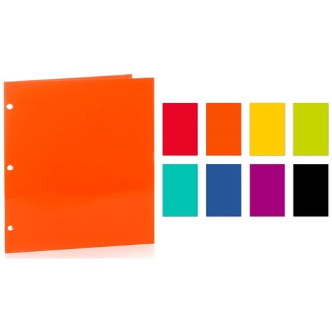 """PROMARX PAPER PORTFOLIOS, 12"""" x 9.375"""", 2 POCKET, ASSORTED GLOSSY PORTFOLIOS, 3 HOLE PUNCHED, COLORS MAY VARY, 48PK"""
