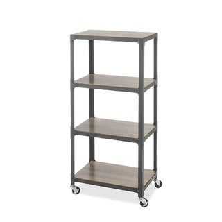 Whitmor 4-Tier Metal Rolling Utility Cart, Gray