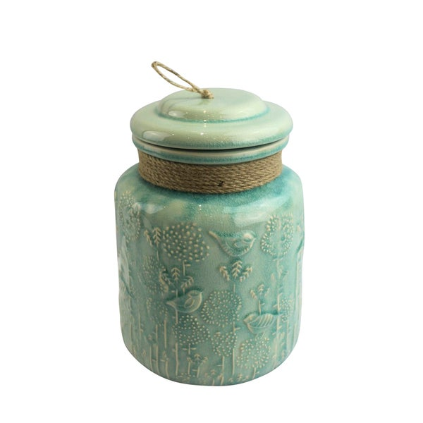 Turquoise Ceramic Angel Jar