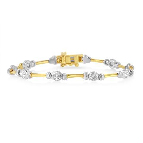 14K Two Toned Gold 1 1/2ct. TDW Round-cut Diamond Bracelet (H-I,SI2-I1)