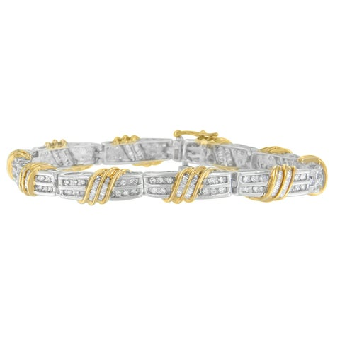 10K Two-Tone Gold 2 ct. TDW Round and Baguette Cut Diamond Wrapped in Love Bracelet (H-I, SI2-I1)