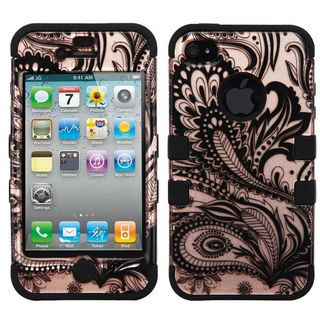 Insten Rose Gold/ Black Phoenix Flower Hard PC/ Silicone Dual Layer Hybrid Rubberized Matte Case Cover For Apple iPhone 4/ 4S