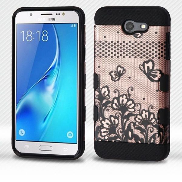 shop insten rose gold lace flower hard pc silicone dual layer hybrid case for samsung galaxy j7