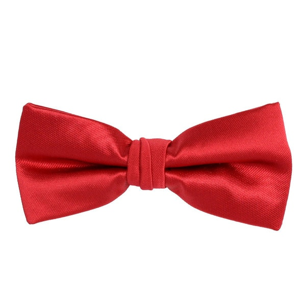 Mens Satin Dark Rose Red and Black pre Tied Adjustable Bow Tie