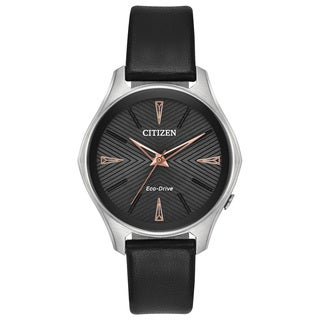 Citizen Ladies Leather Black Eco-Drive Watch
