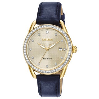 Citizen Ladies Leather Champagne Eco-Drive Watch