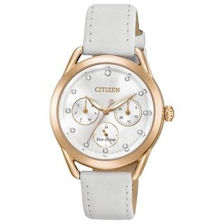 Citizen Ladies Leather Silver-Tone Eco-Drive Watch