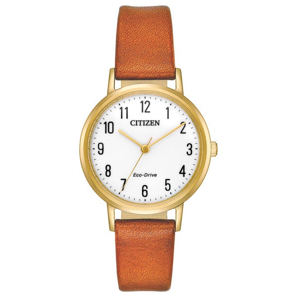 Citizen Ladies Leather White Eco-Drive Watch