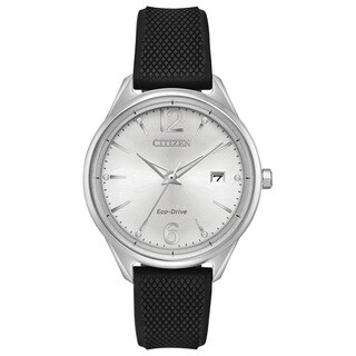 Citizen Ladies Silicone Silver-Tone Eco-Drive Watch