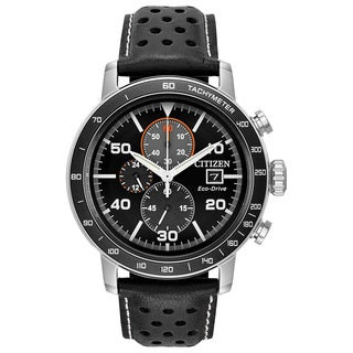 Citizen Men's Leather Black Dial Eco-Drive Watch